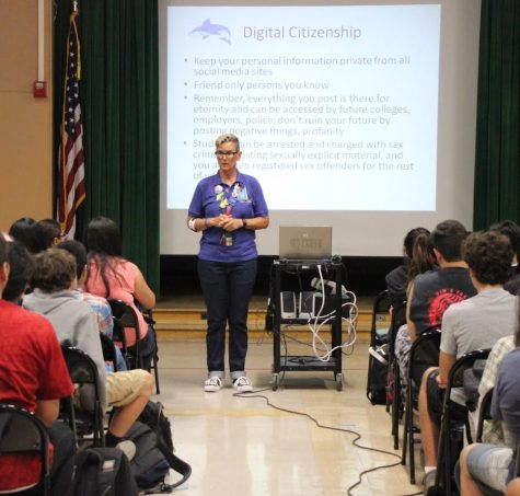 Students attend assembly reviewing school rules