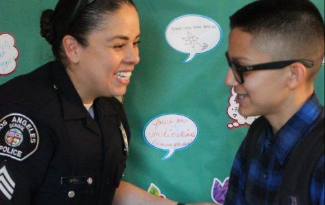 Los Angeles School Police film in hall capturing on campus