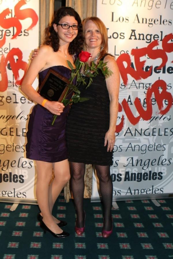 Photo Courtesy of LA Press Club. Editor-in-Chief Elitza Batchiyska holds the plaque for best high school newspaper won by The Pearl Post at the Los Angeles Press Club Awards in June.