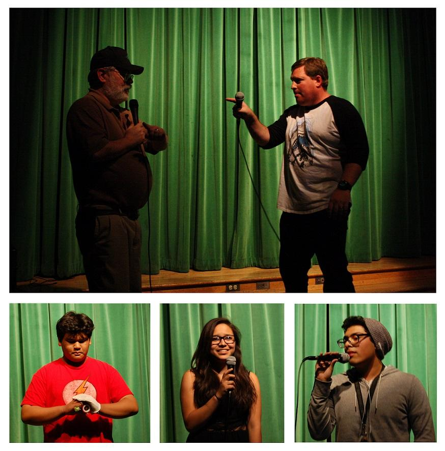"""Photo by Jake Dobbs and Hailey Pohevitz  Science teachers Stephen Schaffter (top left) and Jim Morrison (top right) perform their own take on the classic Abbott and Costello's """"Who's on first?"""" Much of the audience had fun figuring out the witty plot of the skit: """"Who's on first, what is on second, I don't know is on third."""" Sophomore Cedric Eusantos shows his skills with stunning yo-yo tricks. With two performances, a soulful acapella and rhythmic pop rock, sophomore Sandra Aguilar kept it contemporary and far from disappointing. Senior Ean Argueta put groove into the show with his rendition of Sublime's """"Doin' Time."""""""