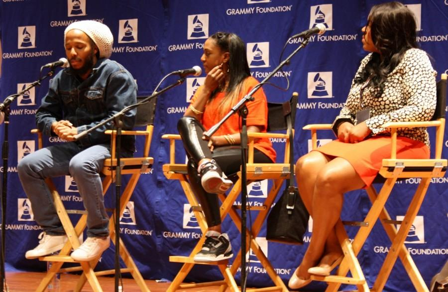 Grammy winner Ziggy Marley (left), Grammy-nominated songwriter/vocalist JoiStarr (center) give panel discussion at Grammy Camp in the University of Southern California. Photo by Daniela Valdivia
