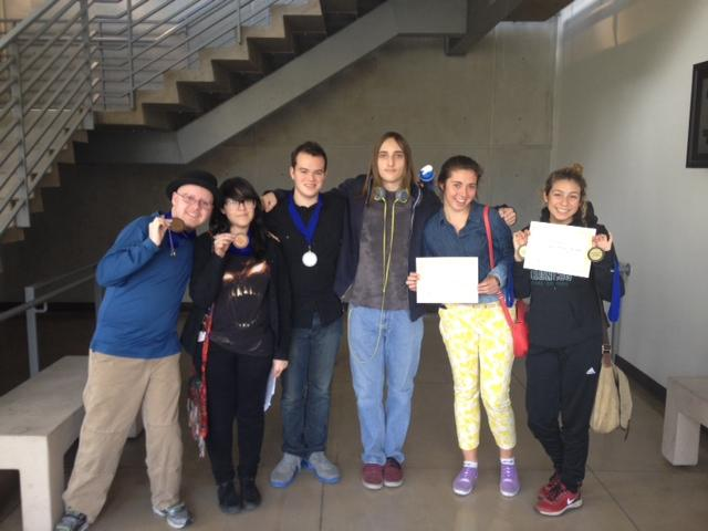 Some of the participating students after the awards ceremony. From left to right: Features Editor Chris Bower, staff writers Elsy Barcelo and Elijah Zelonky, staff photographer Jake Dobbs, staff writer Irene  Feher and yearbook editor Ana Perez.