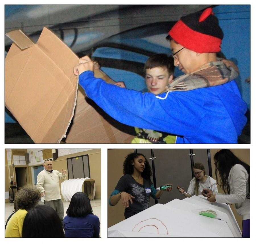 (Top) Freshmen John Ford (left) and Jonas Acebes (right) gather several intact and loose boxes to build their cardboard dwelling. (Bottom left) Gues speaker Dr. Jorge Vazquez is a scientist working for NASA and JPL. His lecture focused on team-building strategies including a group session involving real-life scenarios. (Bottom Right) Senior Ayla Allen and juniors Meagan Ford and Kane Mara decorate their box as part of an activity for Interact Clubs Night In A Box on April 4. Photo by Jake Dobbs