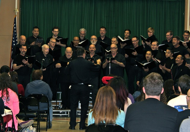 The Gay Men's Chorus of Los Angeles performed during two periods on Thursday. In addition to a variety of songs, the chorus members also shared personal stories about coming out or challenges they have faced as gay men.
