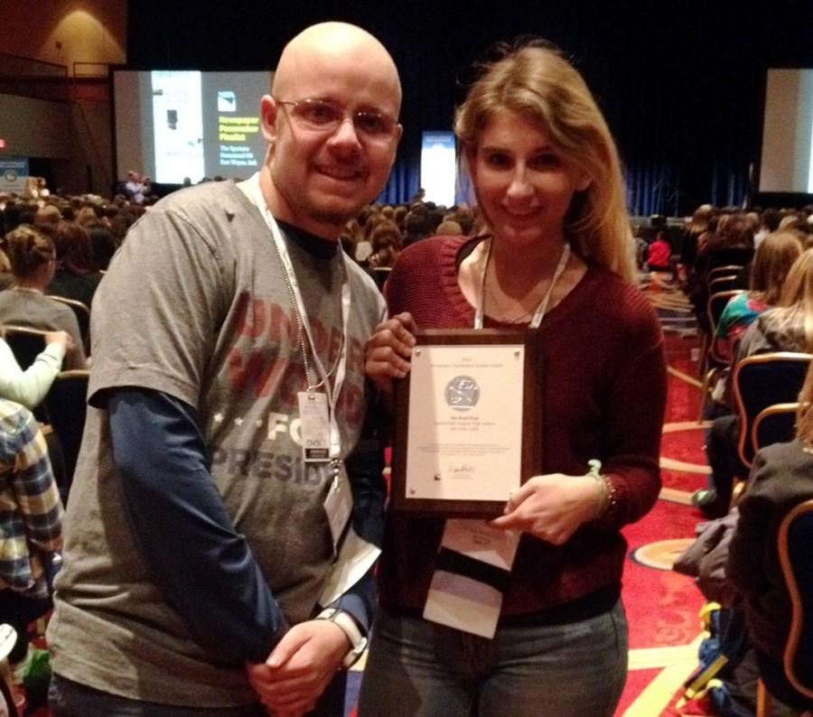 Online Editor-in-Chief Chris Bower and Editor-in-Chief Natalie Moore were among the seven DPMHS journalism students in Washington DC to pick up  The Pearl Post's Pacemaker finalist plaque at the JEA/NSPA National Convention this past weekend. Photo by Adriana Chavira.