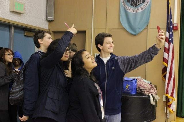 Rainy Day: Students take a selfie