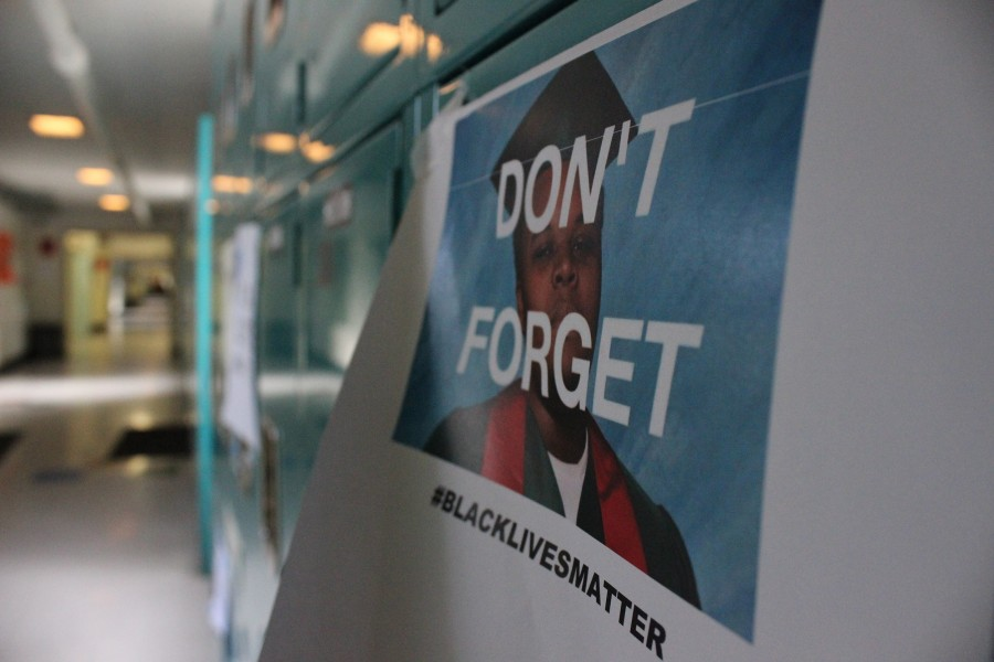 Following the decision of the Ferguson grand jury, chaos erupted on social media. Others voiced their opinions in the real world, posting flyers on lockers in the school.