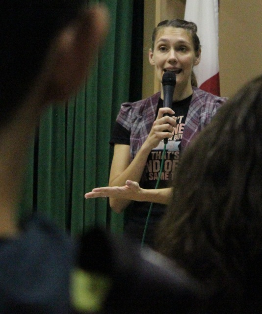 Author Sarah Skilton discusses the development of characters in her novel High and Dry during the author visit on Wednesday, Dec. 10.