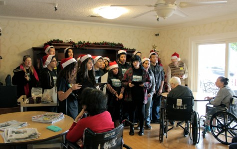 The choir sings holiday songs to the elderly at the Lake Balboa Care Center.
