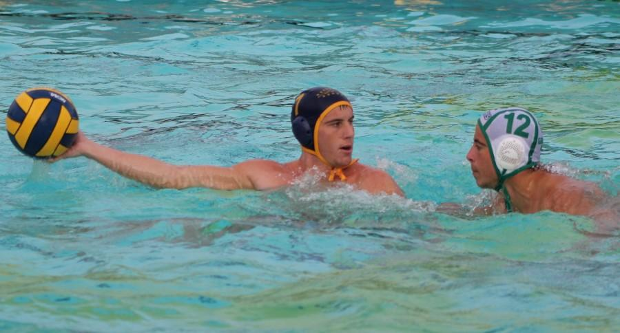 Senior Anthony Dracic holds the ball away from Granada Hill's No.12 during the semi-final game at Birmingham Community Charter High School's swimming pool on Nov. 16.  The Patriots defeated the Granada High Landers 20-6 and continued onward to finals against Pacific Palisades High School on Nov. 19.