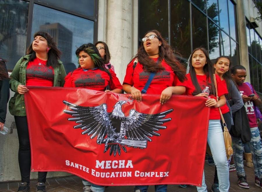 High school students from the Santee Education Complex celebrate outside the Nov. 18 LAUSD Board of Education meeting when the ethnic studies graduations requirement was approved by a 6-1 vote.
