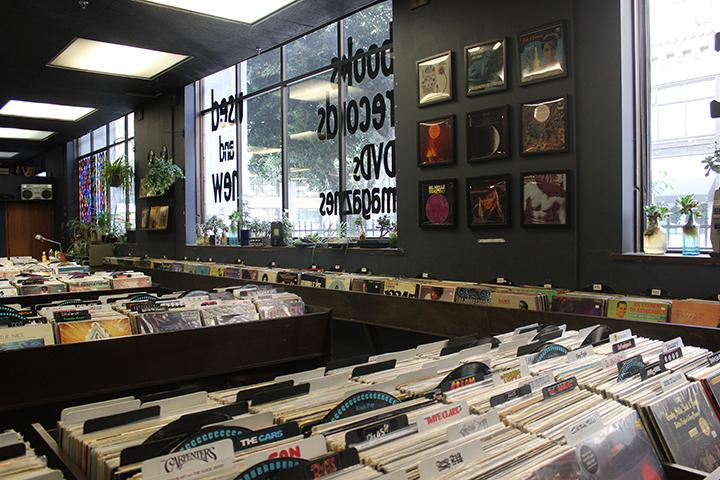 On the first floor, rows of vinyl records show off that the store doesn't just sell books. The records span from any genre and almost any decade.