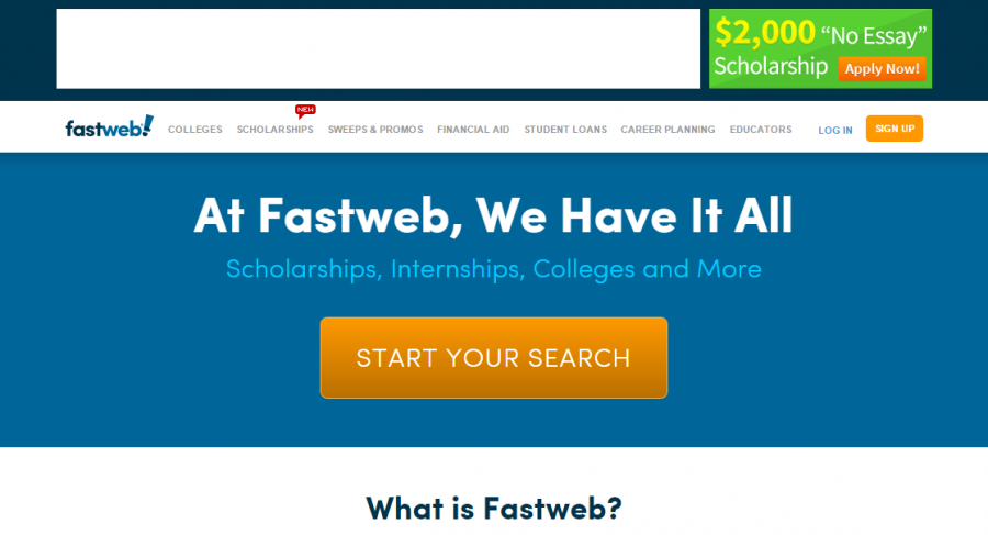 Fastweb is one of the many resources available for students in their search for scholarships and financial aid. Screenshot by Meagan Ford.