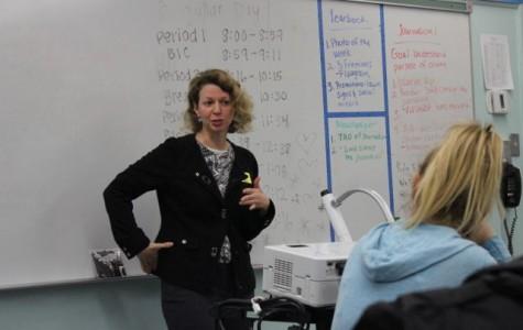 PHOTO: Brenda Gazzar visits newspaper class