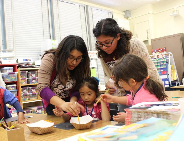 Lunch Bunch members Kimberly Chaleco and Gabriella Avendano help Valley Alternative's students with art projects during the group's visit to the school today.