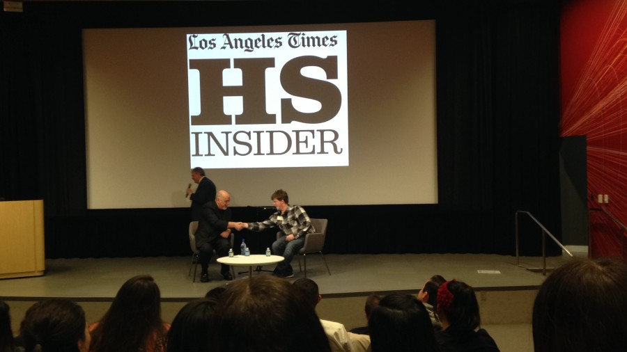 Staff reporter Brandon Gilden goes head to head with Los Angeles Times columnist Bill Plaschke as a part of the workshop on Saturday.