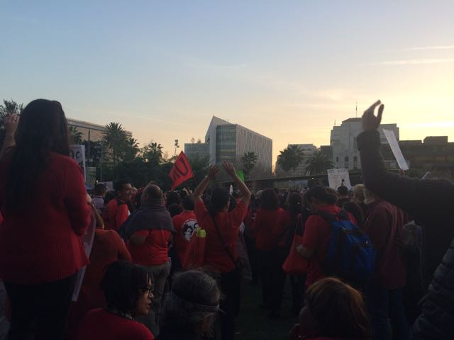 Teachers protest for a salary increases, which they havent had in eight and a half years, on Feb. 26 at Grand Park in Downtown Los Angeles.