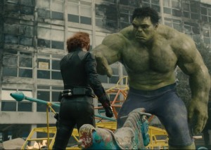 Black Widow (Scarlett Johansson) attempts to calm the Hulk (Mark Ruffalo) during his rampage. Photo from marvel.com