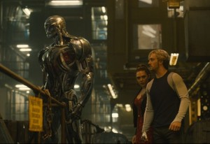 Ultron (James Spader) with Wanda (Elizabeth Olsen) and Quicksilver (Aaron-Taylor Johnson). Photo from marvel.com