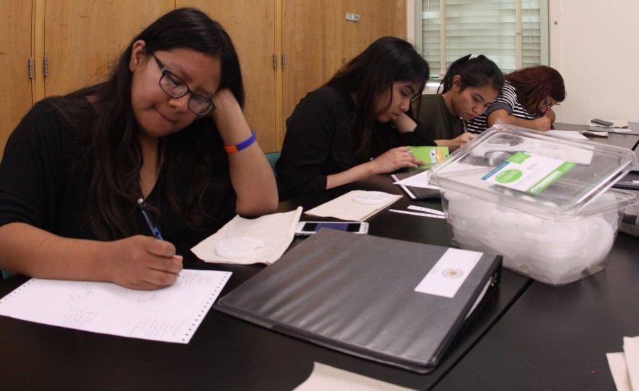 Senior Dianne Villalta along with other Anatomy and Physiology students sketch wax bite mark impressions. This was one of four different lab activities students had to participate in, each one taking a day to complete.