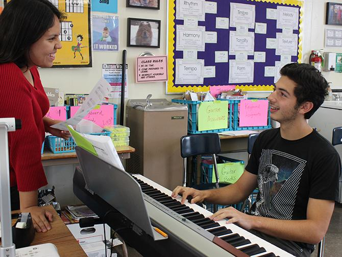 Juniors Alessandra Silva and Daniel Seidman, creators of the club, share their own tastes in music. The Exploring Music 101 Club meet every other Monday, where they share their favorites generes or songs. The club hold its meetings in music teacher Jackie Gorki's room at lunch.