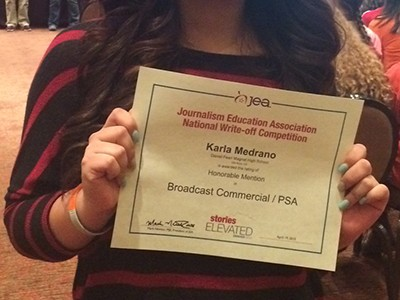 """Senior Karla Medrano's PSA """"Peer Pressure"""" received an award for Best School Information and an honorable mention at the JEA/NSPA convention."""