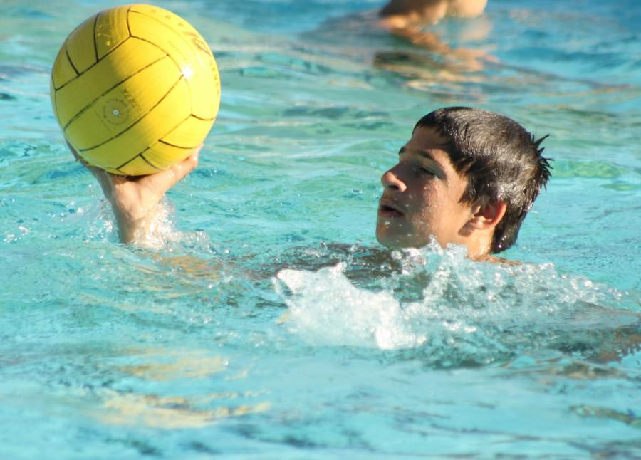 Junior Maxim Grinfeld holds the water polo ball above the water as he is about to pass it to a nearby teammate.