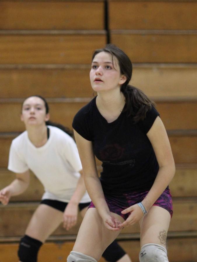 Junior Lissa Favela sets up to bump the ball