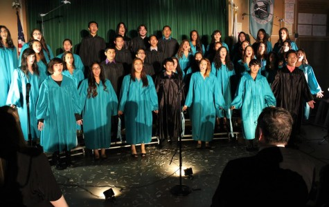 The DPMHS choir perfroms during the 5th annual Daniel Pearl World Music Day performance last year