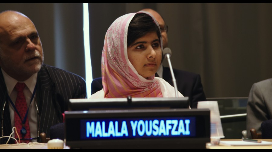 Malala Yousafzai at the United Nations General Assembly held in New York City for 2013.