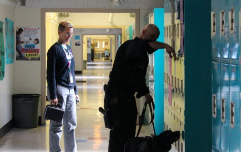 Police dog conducts random searches