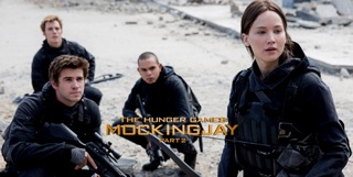 Sam Claflin as Finnick Odair,  Liam Hemsworth as Gale Hawthorne, Evan Ross as Messalla and Jennifer Lawrence as Katniss Everdeen (left to right).