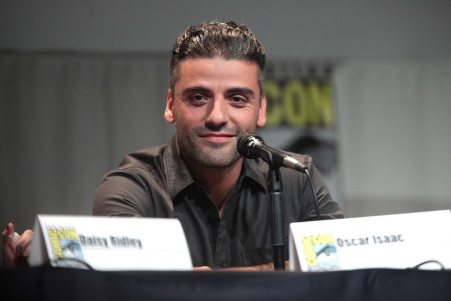 Oscar Isaac speaking at the 2015 San Diego Comic Con International, for Star Wars: The Force Awakens.