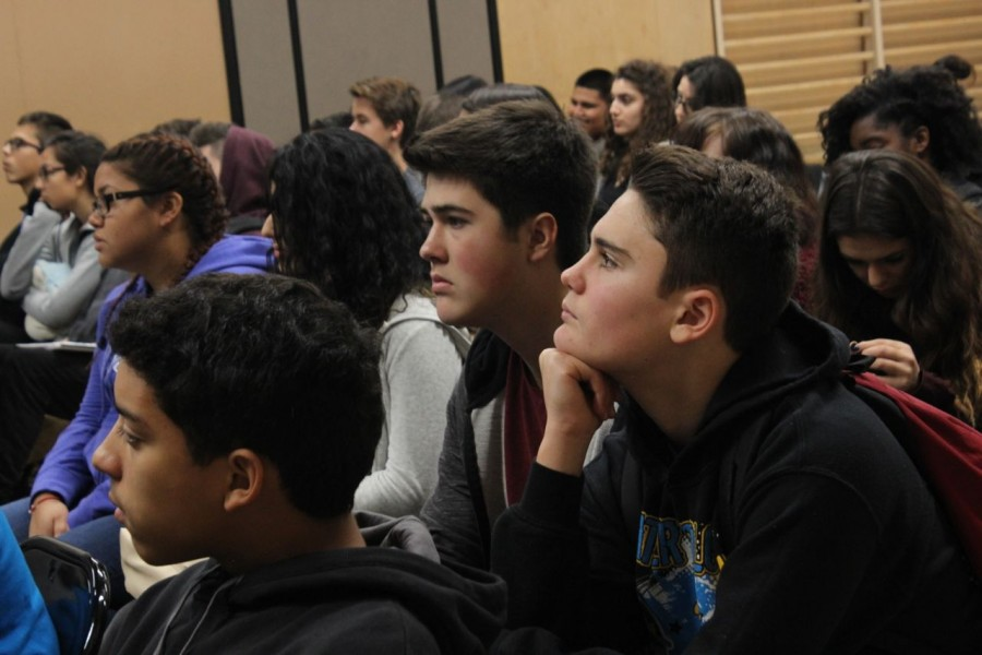 Sophomore Ryan Sokolov listens attentively during the Hersey House awards ceremony.