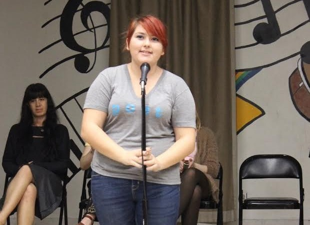 Sophomore Kamryn Blake performs for other students at the Get Lit assembly on Jan. 29.