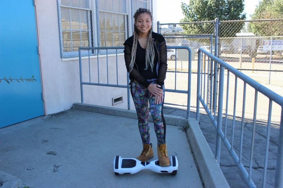 Freshman Taylor Devlugt, who got her new hoverboard for Christmas is now restricted with the new laws to areas where she can enjoy using her new ride.