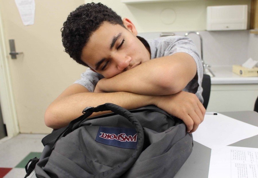 Senior Chris Pina falls asleep during third period in Cynthia Barry's English class. Students of Daniel Pearl Magnet High School battle the exhaustion daily due to lack of sleep.