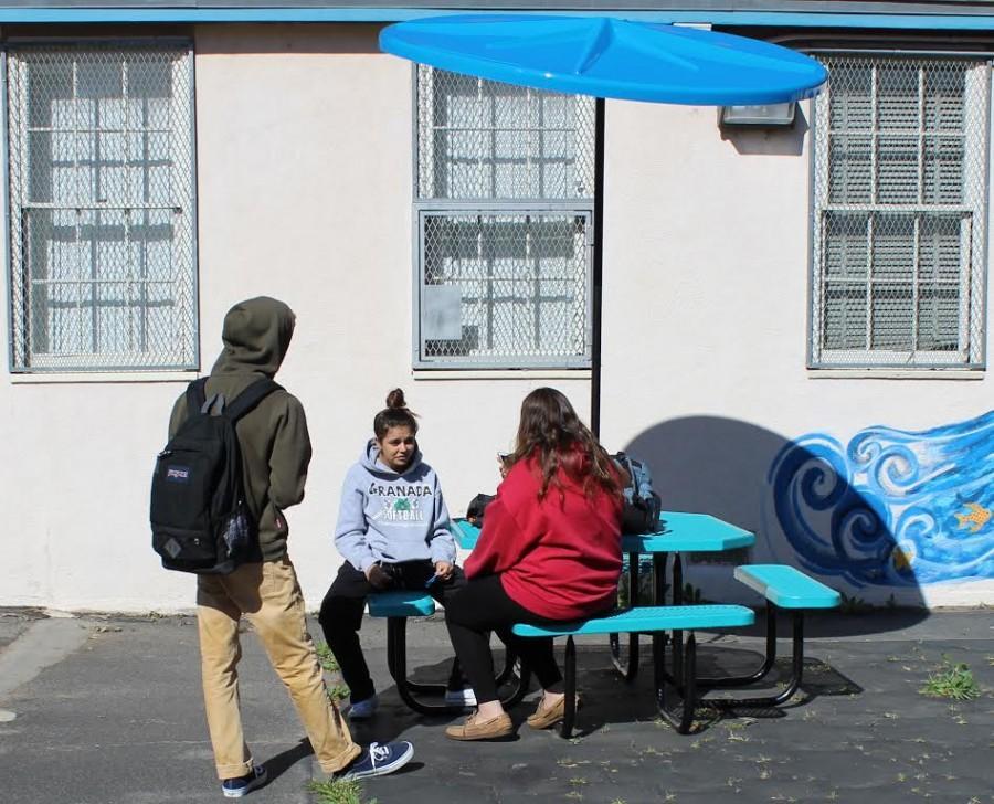 Senior Jordan Rubin, junior Valeria Sanchez and senior Alina Somoundjian sit in the sun despite the newly established umbrellas.