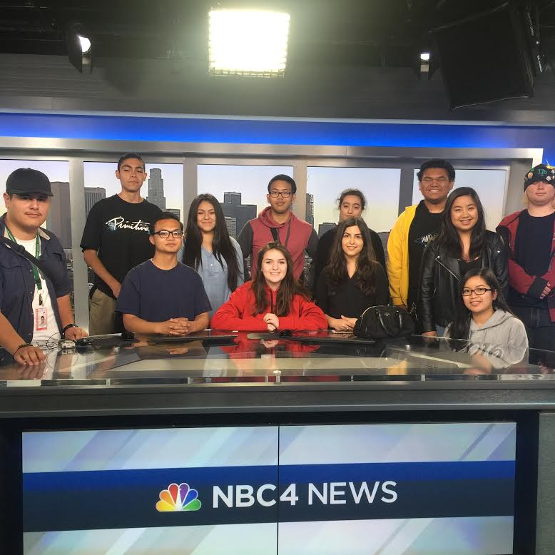 Broadcasting students take a group picture at KNBC studios during a field trip.
