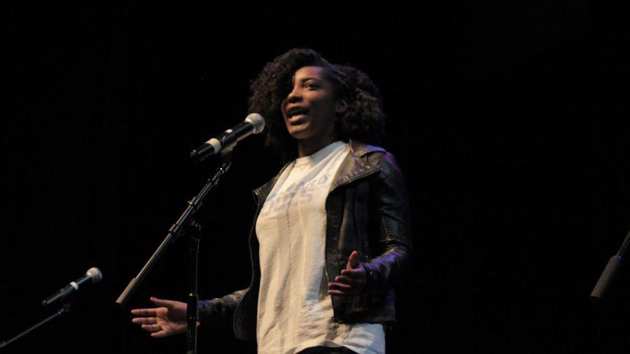 Junior Katie Lashley performs her original poem