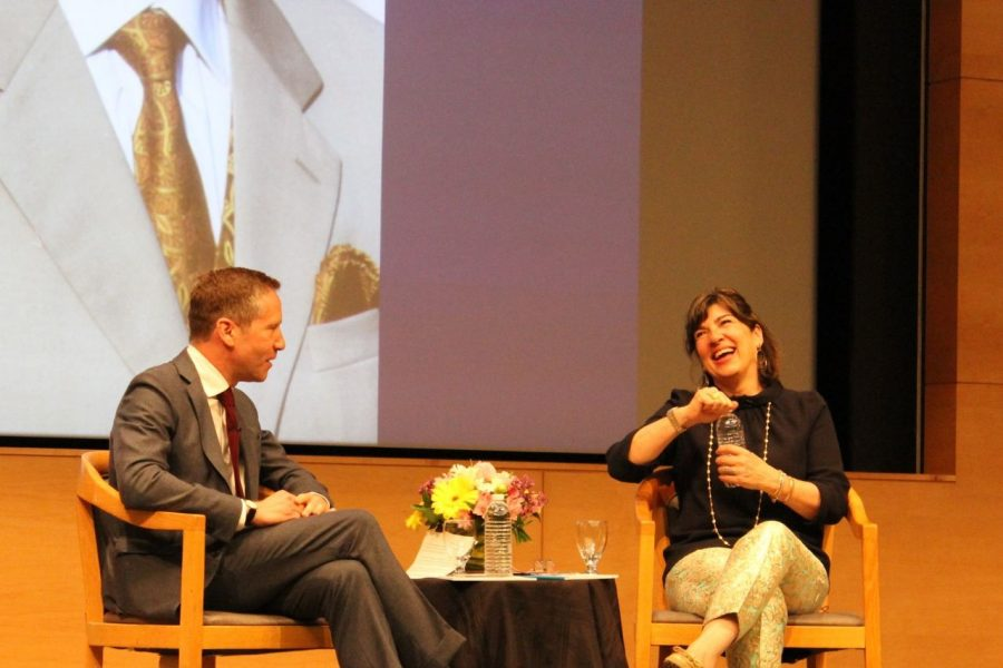 Kal Raustiala the director of the UCLA Burkle Center for International Relations interviews Journalist and CNN Correspondent Christiane Amanpour during the Daniel Pearl Memorial Lecture.