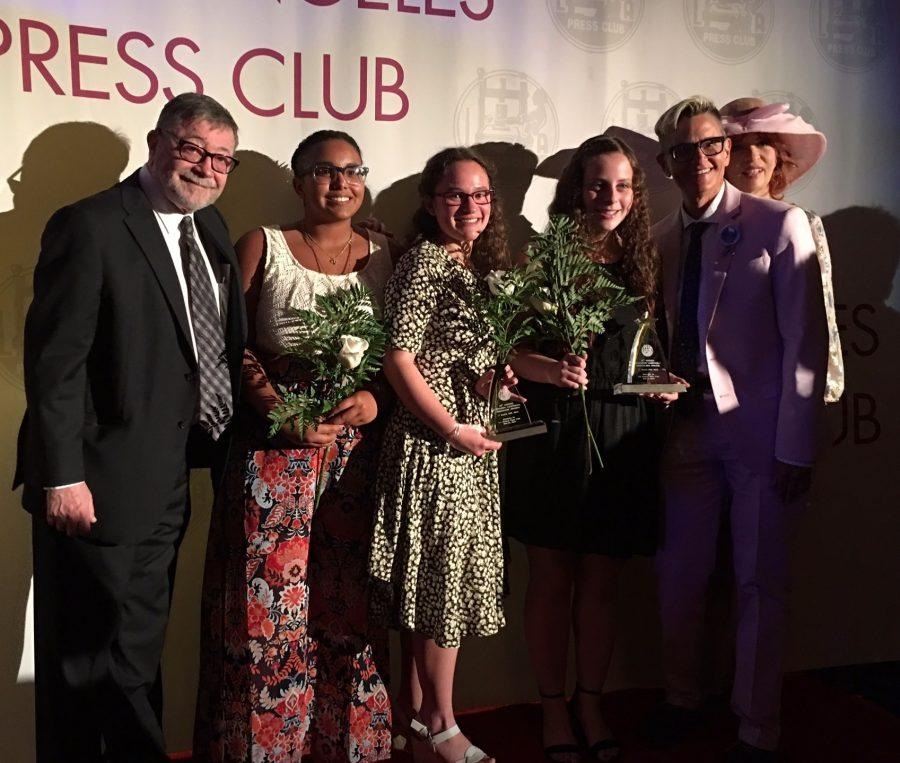(From left to right) Judea Pearl, father of the slain journalist Daniel Pearl, Managing Editor Kyrah Hunter, Editor-in-chief Rebekah Spector, former Editor-in-chief Ilana Gale, Principal Deb Smith and journalist Patt Morrison pose for a picture as the editors accept their two awards.