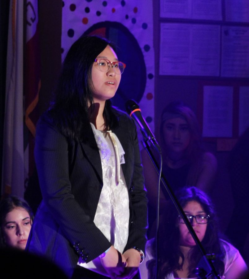 Senior Kannokorn Choset sings a traditional Thai song. Cultural differences are also celebrated alongside the lat Daniel Pearl's life.