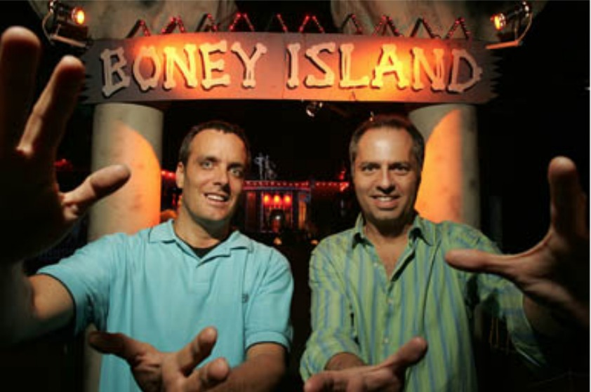 Rex Danyluk and creator of Boney Island Rick Polizzi pose at the entrance of the attraction.
