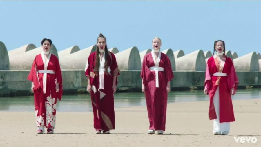 """Screenshot by Amanda Jimenez Band members from left to right: Amber Grimbergen, Ana Perrotte, Ade Martin, Carlotta Cosials in music video for """"Warts."""""""
