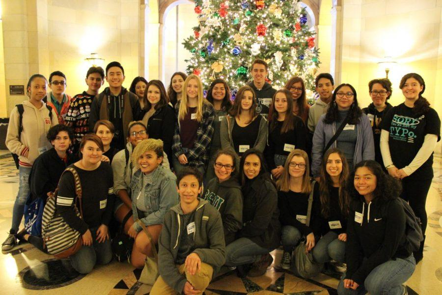 The newspaper and yearbook staff not only visited the Los Angeles Times headquaters but also were able to tour City Hall. This photo was taken by a chaperon.