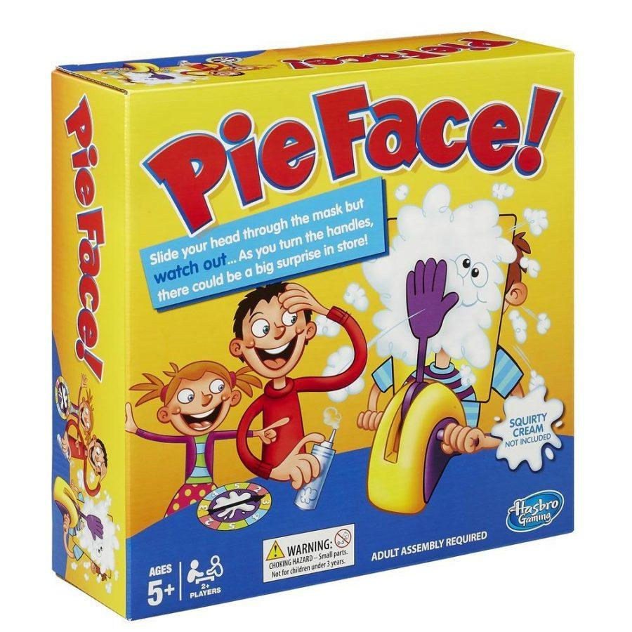 Hasbro Pie Face Game-  $12 A suspenseful game where participants turn a handle and hope to not be covered in whipped cream.
