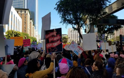 Protest gather around Pershing Square for the Los Angeles Women's March.