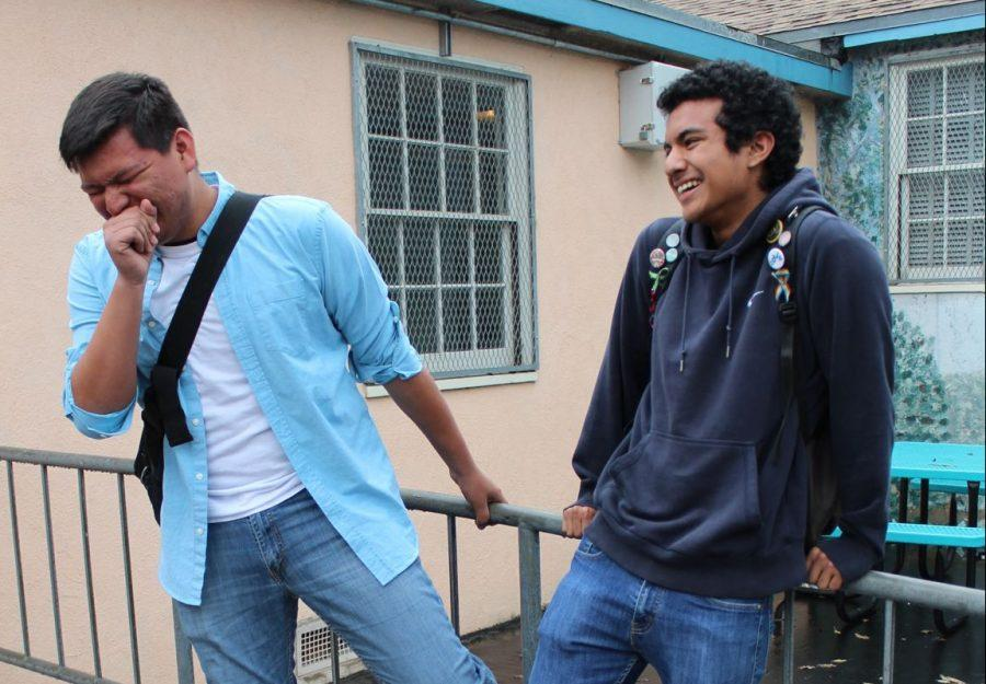 Seniors Jesse Cortez and Kyle Peraza share a moment in the courtyard, captured perfectly in the moment.