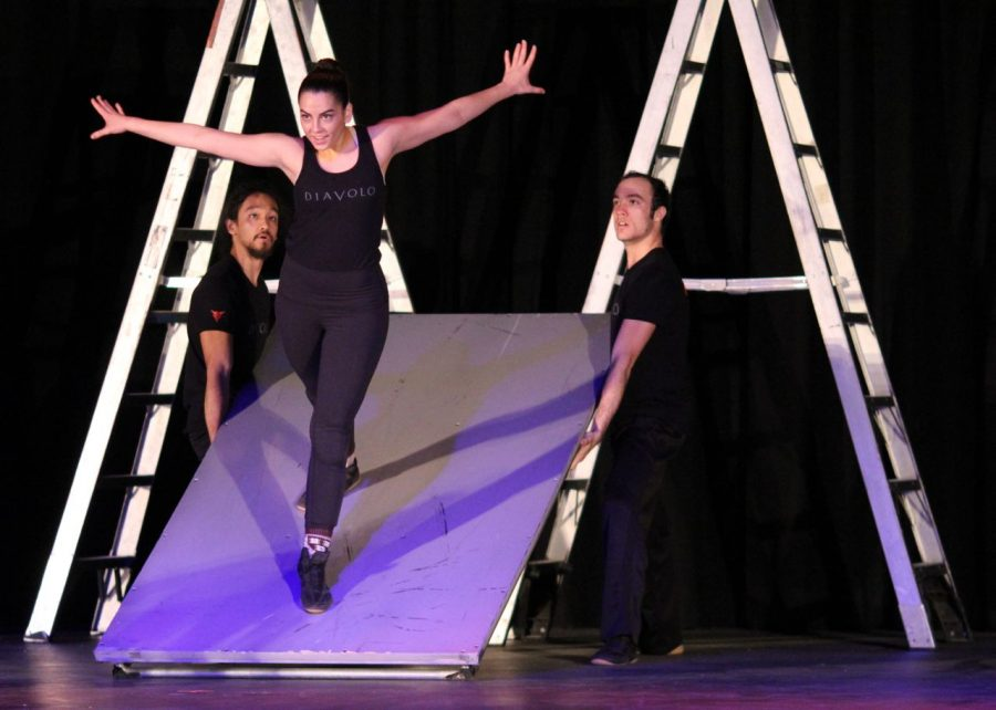 DIAVALO performers Andrew Corpuz and Daniel Glenn carefully watch Janine Montag during the Jan. 27 performance.